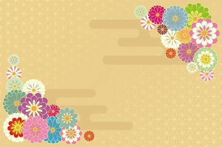 Japanese style chrysanthemum and hemp leaf pattern. Vector background material.