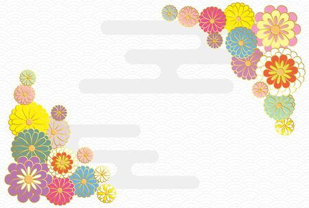 Japanese style chrysanthemum rink wave pattern. Vector background material.