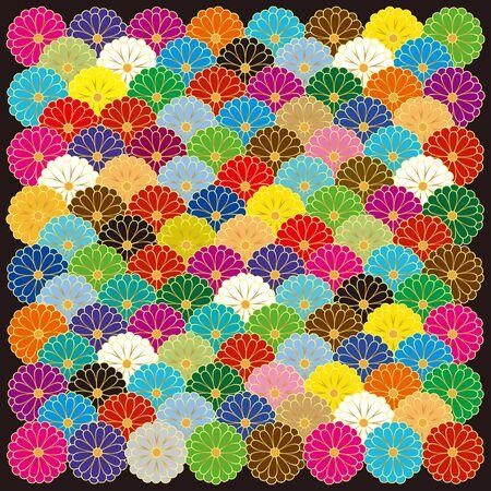 Chrysanthemum Wave pattern. Vector illustration background material.