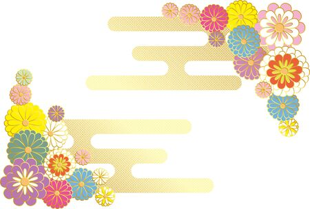 Japanese style chrysanthemum and hazy. Vector background material.