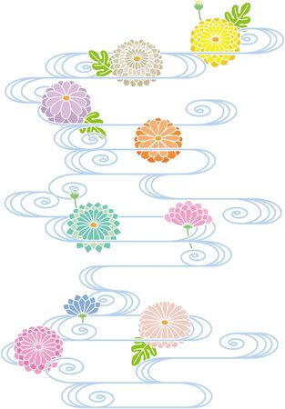 Japanese style chrysanthemum and running water pattern. Vector background material. Ilustrace