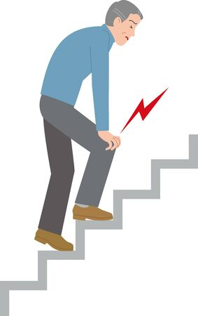 Mature man having knee pain when climbing stairs Vectores