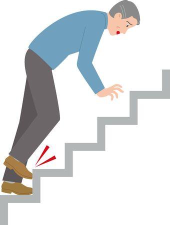 Les personnes âgées rampent dans les escaliers. Illustration vectorielle.