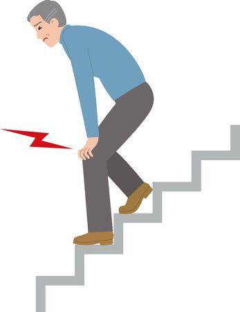 Anciano que sufrió dolor de rodilla al bajar las escaleras
