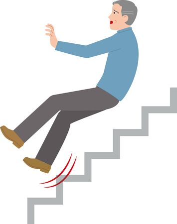 An elderly person who slipped on the stairs. Vector illustration. Ilustrace