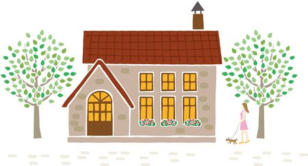 European style house. Woman taking a walk with a dog. Vector material.