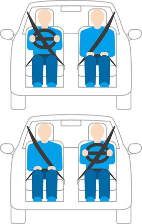 right hand drive.left hand drive vehicle.. Vector image.