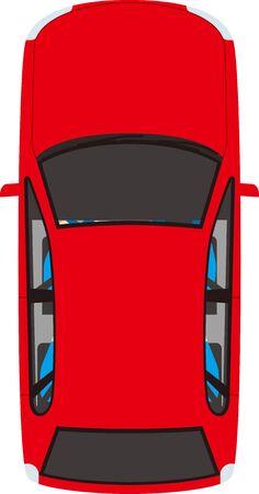 Passenger car seen from above. Vector material.