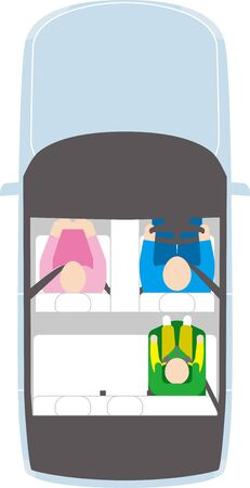 Car. Child Seat and Driver. Vector image.