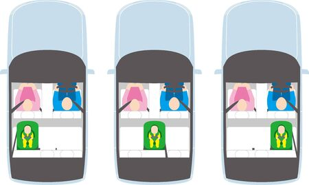 Automobile. Child seat position and driver. Vector image.
