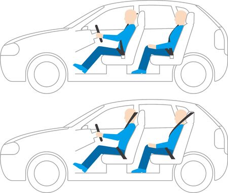 right hand drive.left hand drive vehicle. Side view. Vector material Vector Illustration