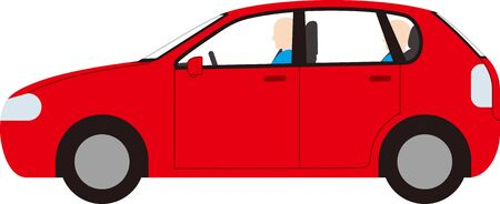 Side of the passenger car. Driver. Vector image.