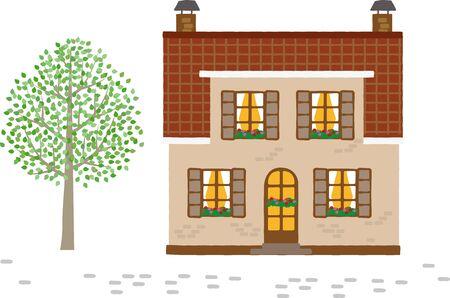 European-style house. Vector image Ilustrace