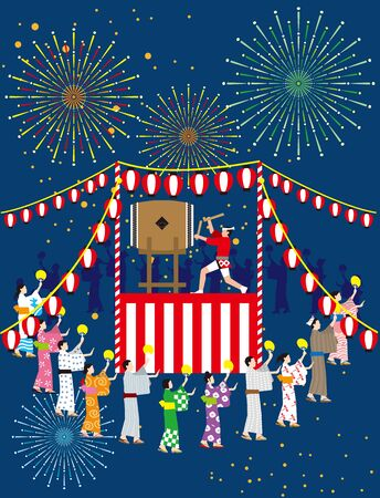 Bon dance and fireworks. Japanese traditional event. Vector material