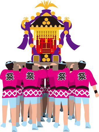 Shrine. The person who carries it. Japanese Festival. Vector material.