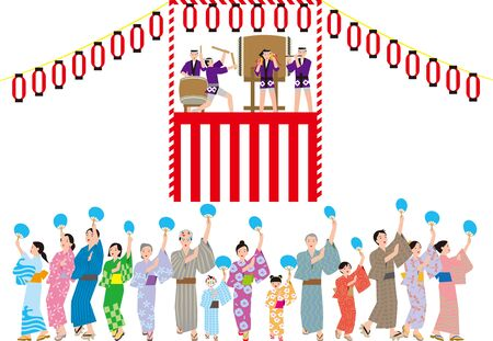 Bon dance. Japanese traditional event. Vector material