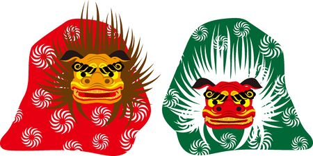 Lion dance. Japanese traditional event. Vector material 向量圖像