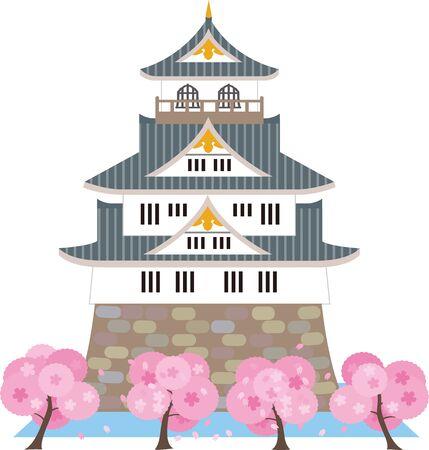 Château japonais et fleur de cerisier. Matériel de vecteur.