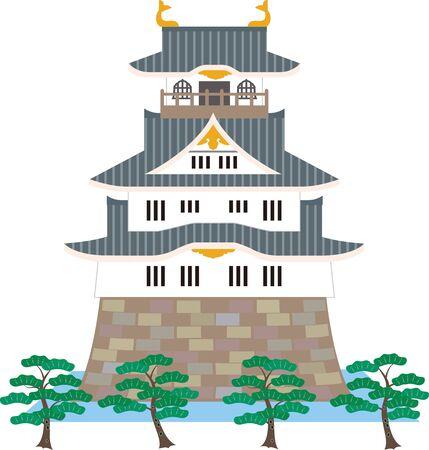 Château japonais et pin. Matériel de vecteur.