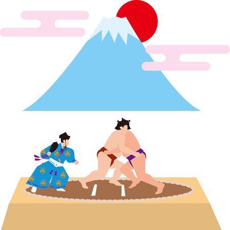 Sumo e mt. Fuji. immagine giapponese. Materiale vettoriale Vettoriali