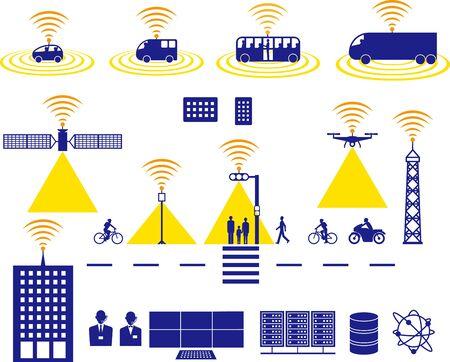 self-driving. City image icon. Vector material Ilustração