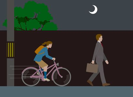 Bicycle Dangerous No Light Driving. Vector material Illustration