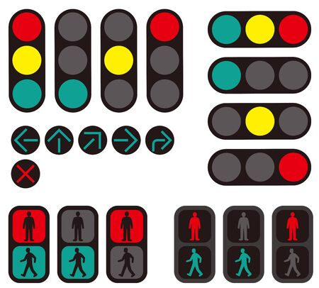 Japanese Traffic Lights. Road design material. Vector material Banque d'images - 132927241