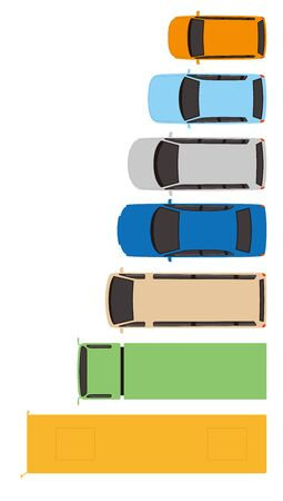 An overhead view. Vehicle. Road design material. Vector material