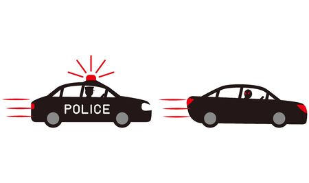 Automobile Running Away from police car chase vector material.