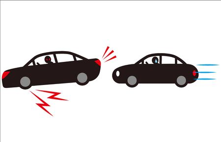 Threatening Driving with Sudden Braking. Vector material.