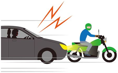 Automobile for tailgating to motorcycles. Vector material.