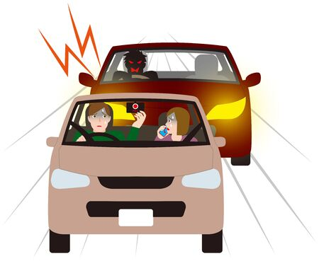 Couple being cautious at a motor vehicle with dangerous tracking. Vector material. Çizim