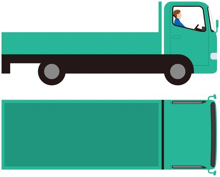 Vehicle.truck side and top.vector material Illustration