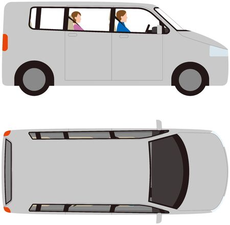 Vehicle. Side and top of minivan type passenger car. Vector material