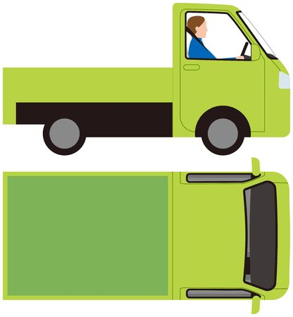 Vehicle.Light Truck Car Side and Top. Vector material