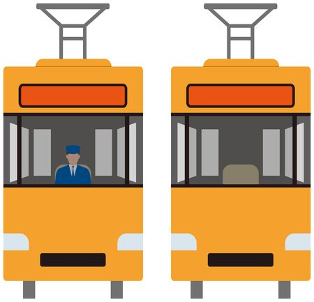 Vehicle. Tram front and rear vector material Ilustrace