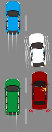The Okest driving that runs wildly. Vector material Illustration