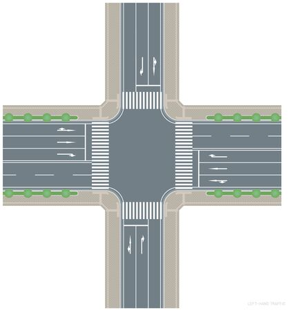 An image of a left-hand traffic intersection. Vector material.