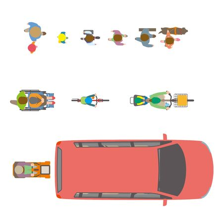People, bicycles, automobiles. Illustration Viewed from Above