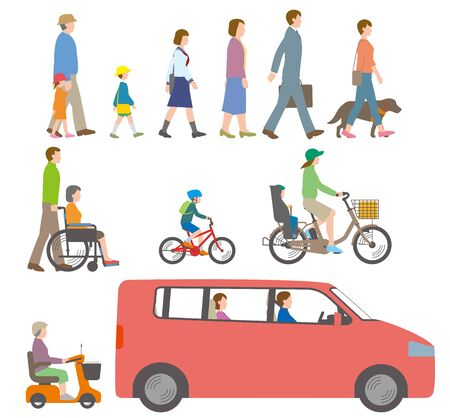 People, bicycles, automobiles. Illustration Seen from the Side Stock Illustratie