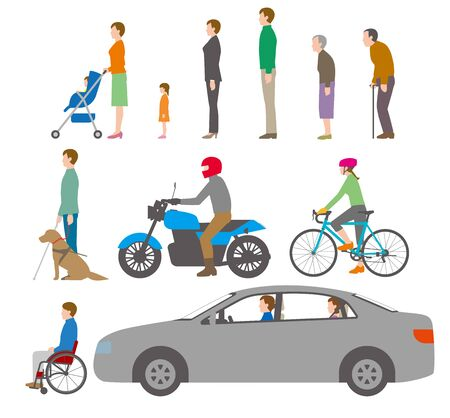 People, bicycles, automobiles.  Illustration Seen from the Side. Vecteurs