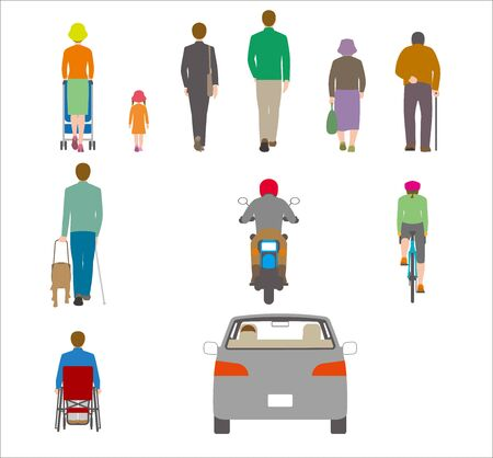 People, bicycles, automobiles. Illustration Seen from the Back
