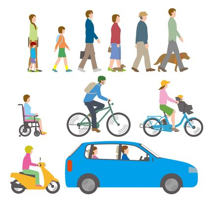 People, bicycles, automobiles. Illustration Seen from the Side Vettoriali