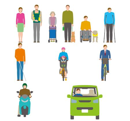 People, bicycles, automobiles. Illustration Seen from the Front