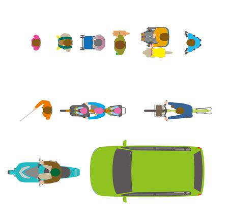 People, bicycles, automobiles. Illustration Seen from the Top Vettoriali