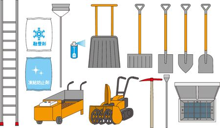 Tools for Removing Snow and Removing Snow from the Roof. Reklamní fotografie - 138141911