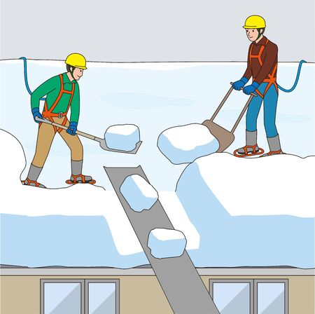 Workers Snowing the Roof. Vector material Ilustracja