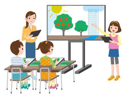 Escena de clase con tableta y pizarra interactiva. Educación por tecnología de redes