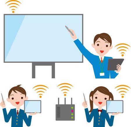 Escena de clase con tableta y pizarra interactiva. Educación por tecnología de redes Ilustración de vector