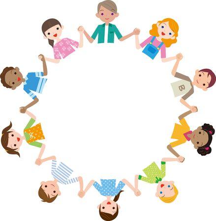 Other ethnic children holding hands